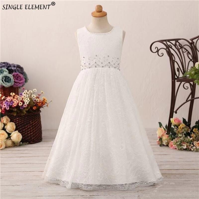Photo réelle en gros une ligne dentelle Boho fleur fille robe perles robes de fête de mariage pour les petites filles