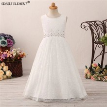 Real Photo Wholesale A line Lace Boho Flower Girl Dress Beads Wedding Party Dresses For Little Girls