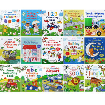 12 Books Usborne 16 Page English coloring book kids books Antistress Coloring Books For adults Livre drawing/Art/colouring Book
