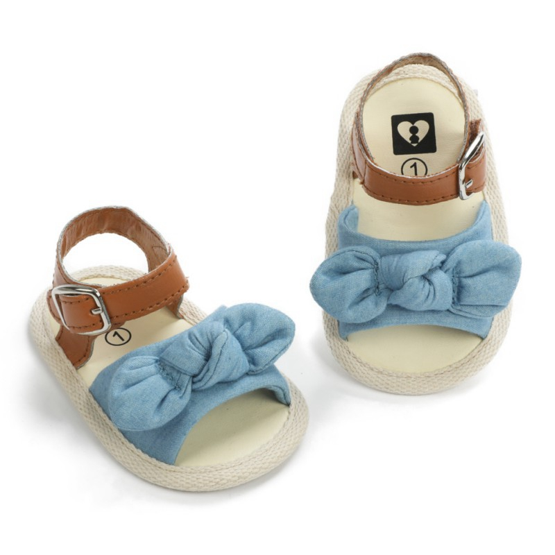 Summer Baby Girl Bow-Knot Sandal Girls Clogs Fashion Infant Baby Girl Soft Sole Sandals With Bowknot Toddler Striped Shoes