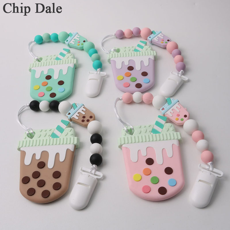 Chip Dale 2pcs/set Baby Pacifier Chain Silicone Teething Chain Baby Milk Tea Teether Soother Holder BPA Free Baby Teether