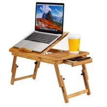 Portable Laptop Desk Adjustable USB Fan Notebook Computer Lapdesk Stand Table Stand Tray Studying Bamboo Table 2 Size
