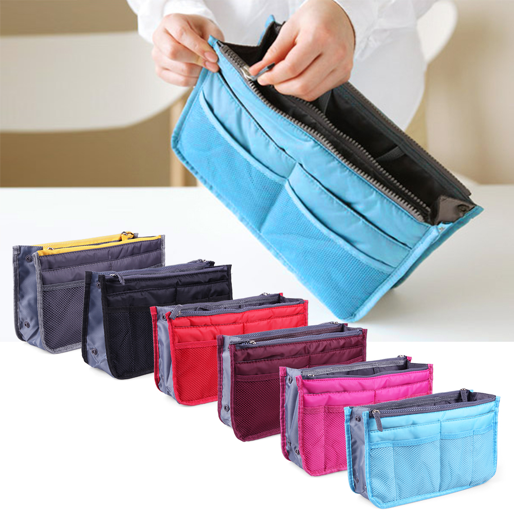Multi-Pocket Purse Organizer Insert Bag Outdoor Travel Toiletry Cosmetic Bag Handbag Storage Pouch Outdoor Sports For Traveling