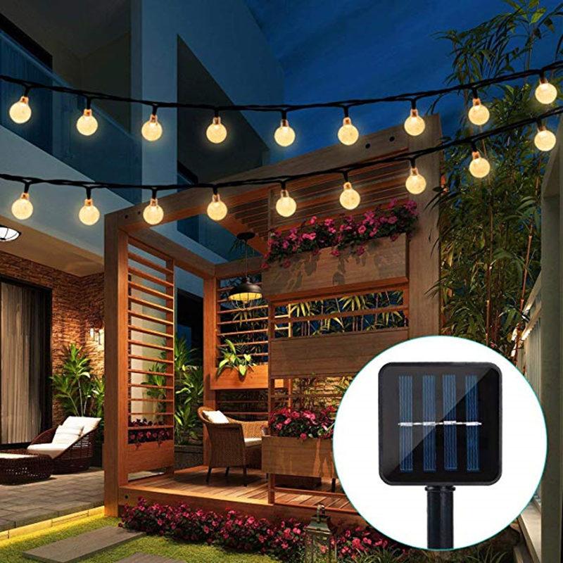 Новая лампа на солнечной батарее 10 м, 50 светодиодов, хрустальный шар, luz, водонепроницаемый, теплый белый свет, сказосветильник, садовое укра...