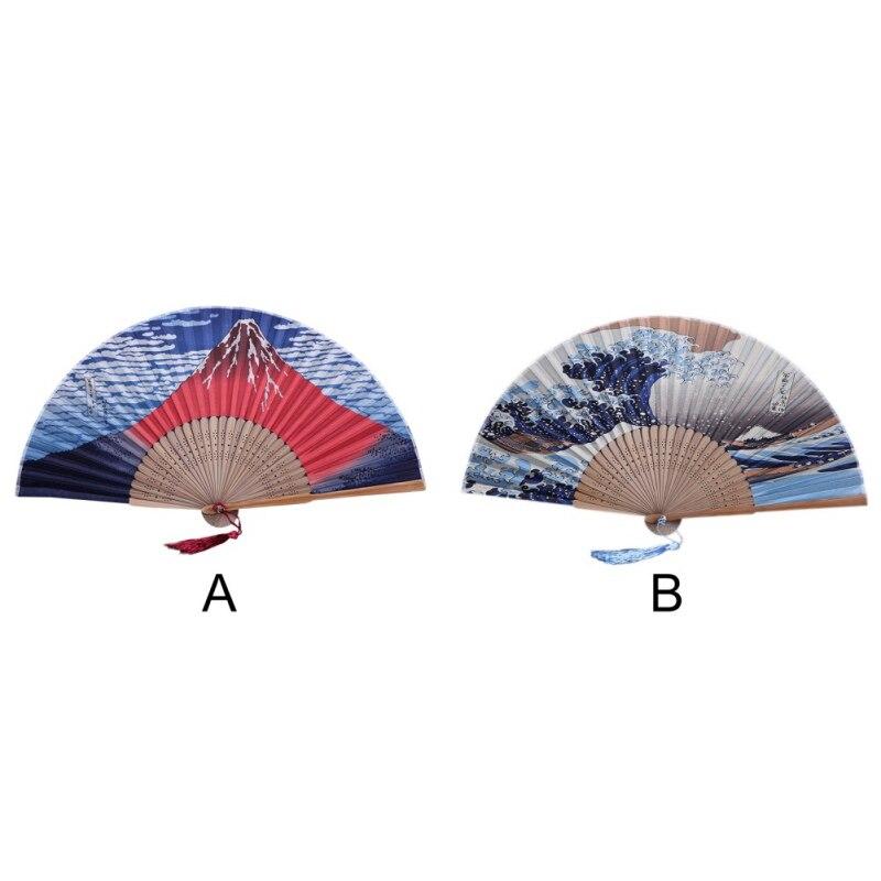 Japanese Bamboo Ribs Hand Fan Stage Prop Fujiyama/Kanagawa Sea Waves Decorative Handheld Folding Fan With Tassel Home Decoration