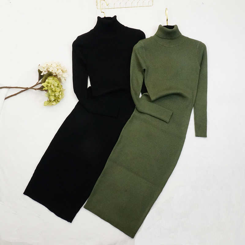 Getвесеннее женское платье с высоким воротом с длинным рукавом трикотажное платье Черное длинное платье-свитер платья универсальные платья с пышной юбкой осень-зима