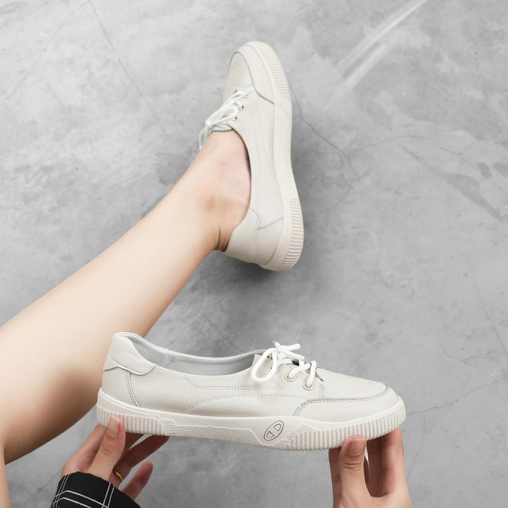 Image 4 - Women Casual Shoes Comfortable White Nude Sneakers Fashion Lace Up Split Leather Girls Casual Flats ShoesWomens Vulcanize Shoes   -