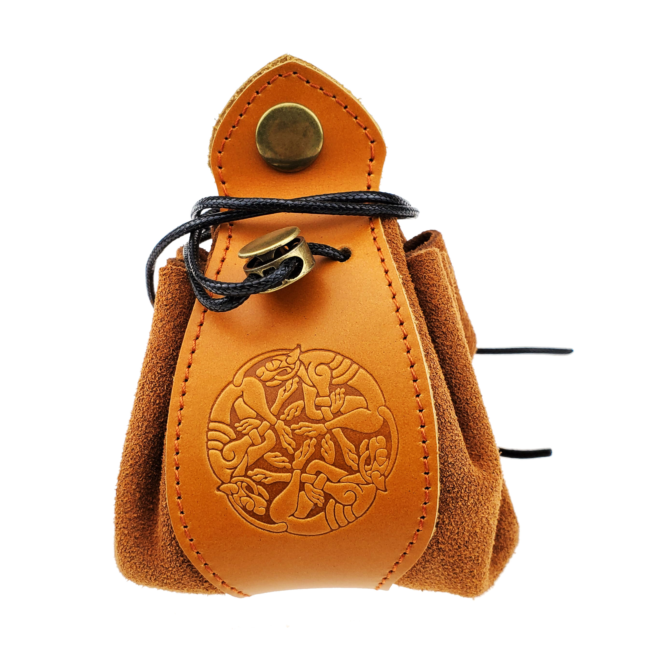 Handmade Dice Purse Coin D-Games Draw-String Actual-Leather Custom-Logo DND Pouch