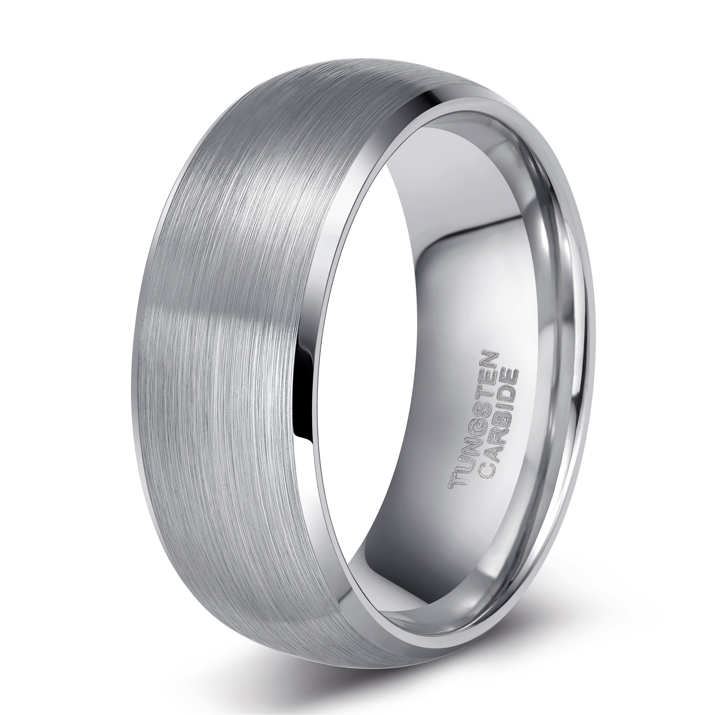 Titanium Brushed Diamond Cross Flat Wedding Band Ring Fine Jewelry Ideal Gifts For Women