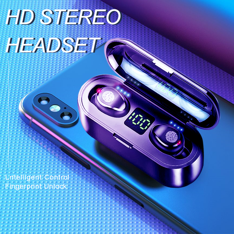 Wireless V5.0 Bluetooth Earphone HD Stereo Headphone Sports Waterproof Headset With Dual Mic and 2000mAh Battery Charge Cas