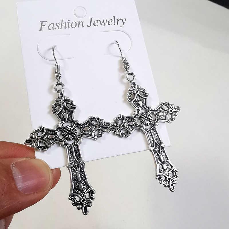 여자를위한 십자가 귀걸이 선물 펑크 고스 빈티지 십자가 드롭 귀걸이 Kolczyki Pendientes 패션 쥬얼리 액세서리 새로운