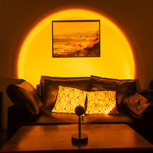 New Sunset Projector Lamp Rainbow Romantic Atmosphere Led Night Light Home Room Stage Ceiling Wall Decoration USB Table Lamp