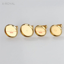 X-ROYAL 20Pcs/lot DIY Finding Inner Diameter 8mm 10mm 12mm Ear Cabochon Base Stainless Steel Rose Gold Colorful Earring Settings 20pcs 12mm heart inner size stainless steel material simple style cabochon base cameo setting charms pendant tray t7 41