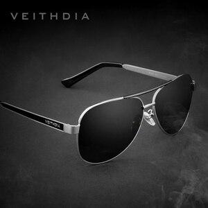 Image 1 - VEITHDIA lunettes de soleil pour hommes, verres en acier inoxydable, lentille verte polarisée, accessoires lunettes, 3152