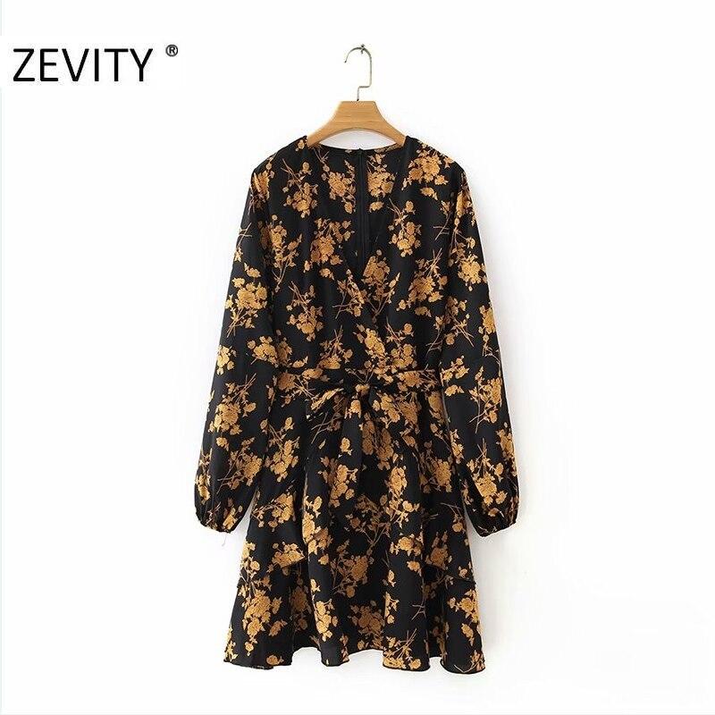 ZEVITY New Women v neck flower print bow sashes mini Dress Female long sleeve ruffles casual Vestidos Chic Party Dresses DS4233