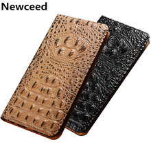 Business style crocodile back pattern natural leather phone case for Lenovo Vibe P2/Lenovo Vibe Shot flip card cover stand coque(China)