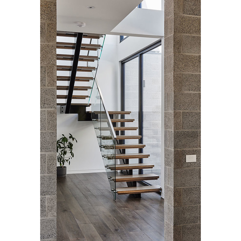 Home Building Free Cad Design U Shaped Steel Wood Staircase Image | Staircase Design Steel And Wood | Angle Bar Stair | U Shaped Stair | Simple | Wooden Step | Open