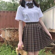 Pleated-Skirts Jk-Uniforms School-Dress Student-Cloths Plaid Girl's Women Summer Chocolate