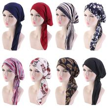 מוסלמי נשים ראש צעיף הכימותרפיה כובע טורבן מראש קשור בארה ב בנדנה Tichel סרטן שיער אובדן ראש צעיף ראש גלישה למתוח כובעי חדש
