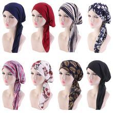 ผู้หญิงมุสลิมหัวผ้าพันคอ Chemo หมวก Pre Tied Headwear Bandana Tichel มะเร็งผมร่วงหัวผ้าพันคอหัวหมวกยืดใหม่