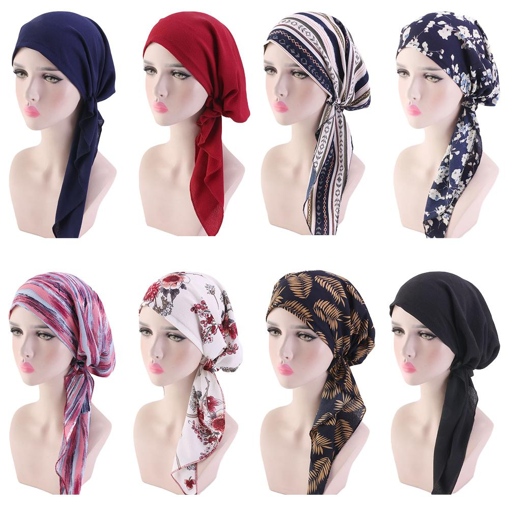 Muslim Women Head Scarf Chemo Hat Turban Pre-Tied Headwear Bandana Tichel Cancer Hair Loss Head Scarf Head Wrap Stretch Caps New