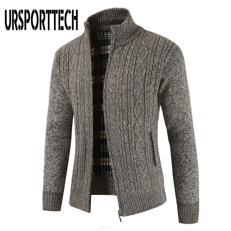 URSPORTTECH High Quality Cardigan Sweater Men Autumn Thick Warm Knitted Sweater Mens Jackets Coats Male Clothing Casual Knitwear
