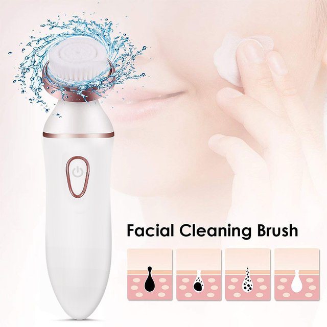 4 in1 Women Hair Removal Lady Shaver Wool Device Epilator Female Shaving Machine Eyebrow Nose Electric Trimmer Face Cleaning 3