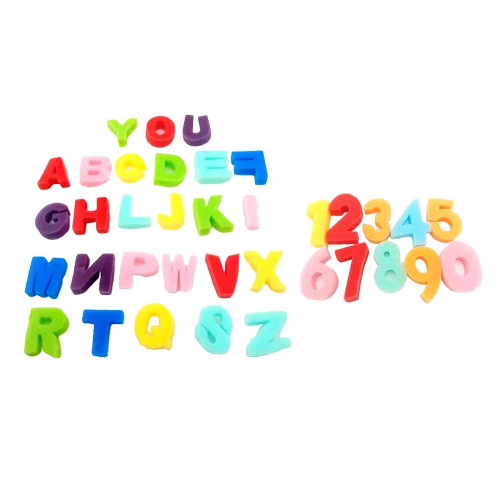 36x Paint Sponge Foam Alphabets Numbers Letters Stamps Stamper Kid DIY Art Craft