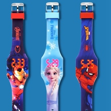 Digital Watch Flash Marvel-Hero Children Clock Soft-Band Girl Silicone Princess Luminous