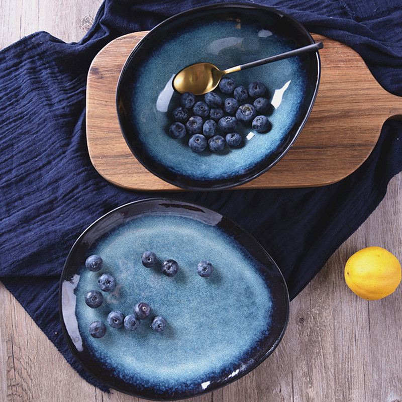 Exquisite Ceramic Dark Blue Steak Plates Nordic Ocean Series Irregular Breakfast Snacks Fruit Dishes Kitchen Desktop Decoration