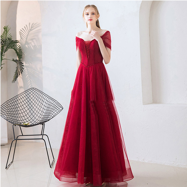 It's Yiiya Evening Dress Off Shoulder Plus Size Short Sleeve Women Party Dresses Boat Neck Floor-Length Robe De Soiree V078 1