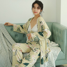 Dormxion Woman Pajamas Set Sling Cotton 3 Peices Sleepwear For Women Long Sleeves Breathable Sexy Robe Homewear Pajama Sets Nightdress+Robe+Pant Female