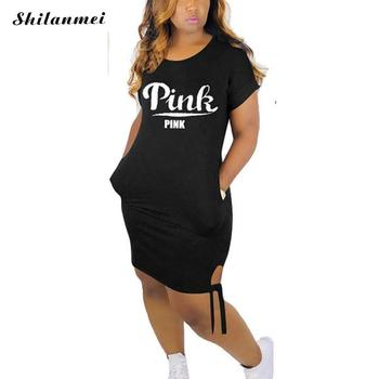 Plus Size T Shirt Dress Women PINK Letter Print Short Sleeve Round Neck Mini Dress Summer Streetwear Ladies Casual Bodycon Dress fashionable round neck short sleeve plus size printed dress for women