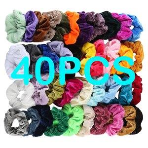 40Pcs Fashion Velvet Elastic Hair Band Solid Soft Hair Accessories For Women Scrunchie opaska do wlosow chouchou cheveux femme