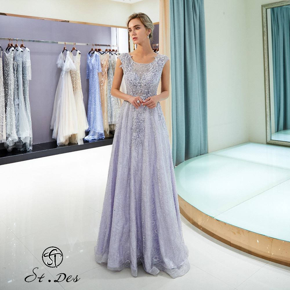 NEW 2020 St.Des A-line O-Neck Russian Light Purple Beading Flower Sleeveless Designer Floor Length Evening Dress Party Dress