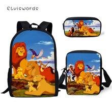 ELVISWORDS Childrens School Backpack Kawaii The Lion King Pattern Book Bags Cartoon Little Animal 3PCs Set Students