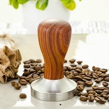 304 Stainless Steel Coffee Tamper Chacate Preto Wood Handle Powder Hammer Cafe Accessories 58Mm