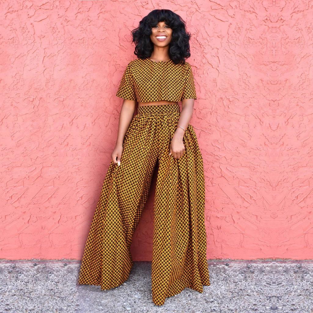 2019 New Style  Autumn Winter  Women Fashion Slim  Vintage 3d Digital Print Retro Casual High Waist Wide Leg Pants Z83