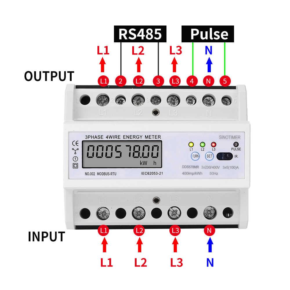 RS485 220/380 V 5-100A 3 phases 4 fils DIN Rail compteur d'énergie numérique facteur de puissance moniteur avec affichage de fréquence de courant de tension