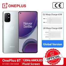 Globale Version OnePlus 8T 8 T OnePlus Official Store 8GB 128GB Snapdragon 865 5G Smartphone 120Hz AMOLED Flüssigkeit bildschirm 48MP Quad Cams 4500mAh 65W Warp
