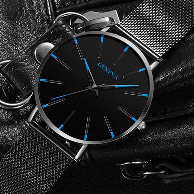 Moda de luxo masculino minimalista relógios ultra fino preto malha aço inoxidável banda relógio de negócios casual analógico relógio de quartzo 3
