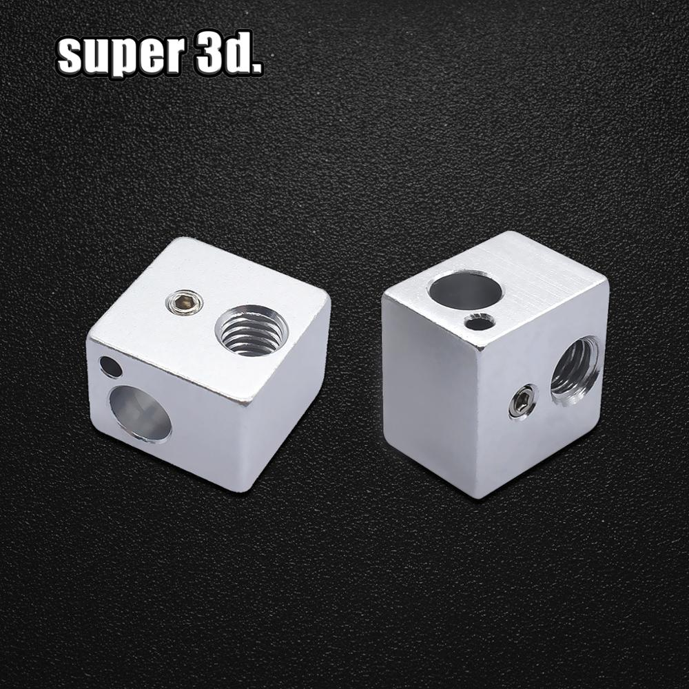 2pcs  Heating Block V5 Heated Aluminum Block 16 * 16 * 12MM For 3D Printer Extruder J-head Hotend Kossel And Prusa I3