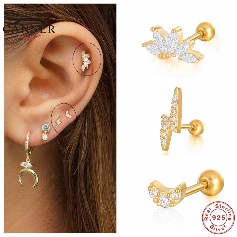 CANNER 1 Pair Real 925 sterling silver Stud earrings Crystal Zircon Piercing Earings for Women ear bone Fine Jewelry pendientes