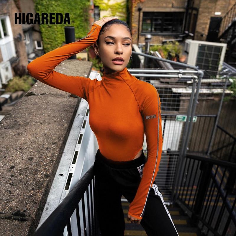 Reflective Turtleneck Black Women Bodysuit Casual High Neck Bodies Ladies Long Sleeve Bodycon Short Jumpsuit Autumn