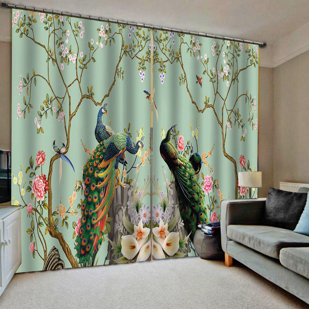 peacock curtain green curtains flower and birds curtain 3D Curtain Printing  Blockout Polyester Photo Drapes Fabric For Room|Curtains| - AliExpress