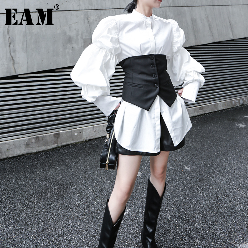 [EAM] Women White Big Size Pleated Split Blouse New Stand Collar Puff Sleeve Loose Fit Shirt Fashion Spring Autumn 2020 1K366