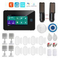 WiFi GSM Tuya Smartlife APP Intelligente Hause Einbrecher Alarm System 4,3 Zoll Touch Panel Unterstützung Google Home Alexa