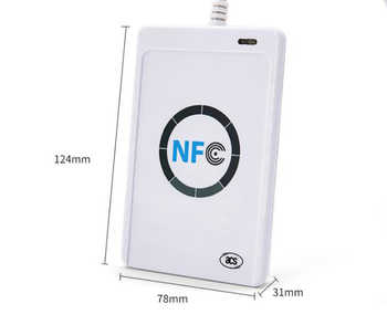 USB interface 13.56Mhz NFC smart card reader Contactless smart card NFC reader and writer ISO14443A with 5 pieces keyfobs