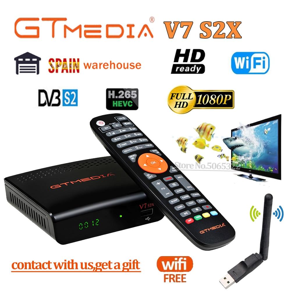 Gtmedia DVB-S2 V7 s2x HD спутниковый декодер 1080P DVB-S2 GT Media V7 s2x HD включает USB Wifi H.265 TV Box с питанием от freesat V7s