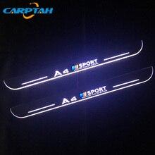 CARPTAH לקצץ חיצוני מכונית דוושת חלקי LED דלת אדן שפשוף צלחת מסלול סרט דינמי אור לאאודי A4 B9 S4 RS4 2013   2015
